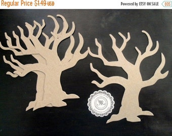 50% Vac. Sale Halloween, Chipboard Tree, no. 109 Chipboard Twig Trees, Chipboard Die Cuts Shapes, .38pts Store Quality Set 3 by Annie42 on E