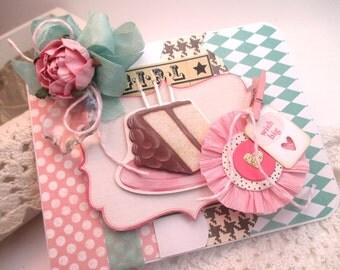 shabby birthday card-GIRL WISH BIG-greeting