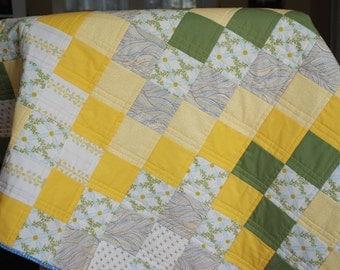Yellow & Green Handmade Baby Quilt