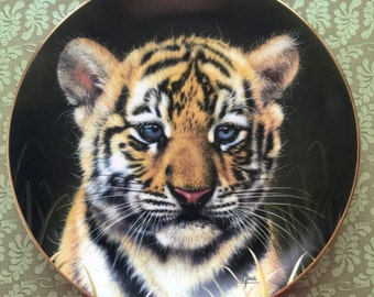 Vintage Collectible Plate Tiger Cub Princeton Gallery Limited Edition 1991 Fine Porcelain