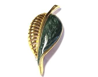 "Green and Gold Leaf Magnet, Upcycled Vintage Brooch, 2 1/2"", Handmade Magnet, Home Decor, Stocking Stuffer"
