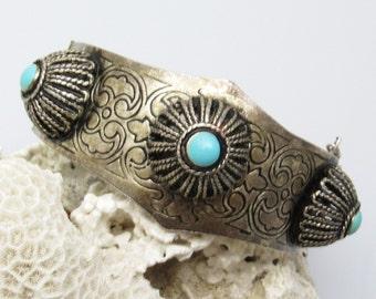 Vintage Bangle Bracelet Wide Hinged Tribal Tibetan Jewelry Boho B7447