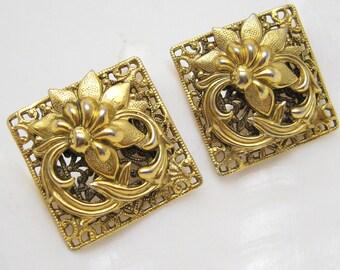 Large Cufflinks Filigree Floral Freirich Vintage Jewelry M7117