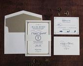 Art Deco Wedding Invitation, Elegant Invitation, Sophisticated Invitation, Vintage Book Invitation, Great Gatsby Invitation SAMPLE
