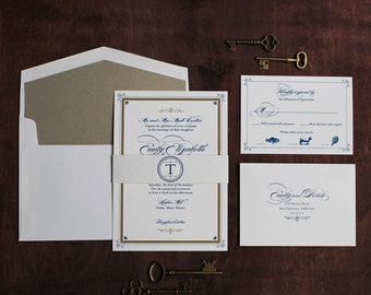 Art Deco Wedding Invitation, Vintage Book Invitation, Elegant Invitation, Sophisticated Invitation, Great Gatsby Invitation DEPOSIT