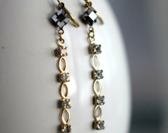 Crystal Chain Dangles, Clear Crystal Earrings, Silver Crystal, Gold Brass, Wedding