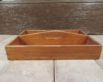 Vintage wood knife or utensil tray or caddy with raised fixed handle and two interior compartments- solid, functional, beautiful