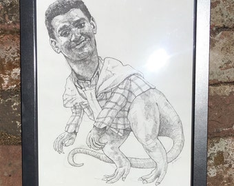 Carleton as a dinosaur - original pen drawing