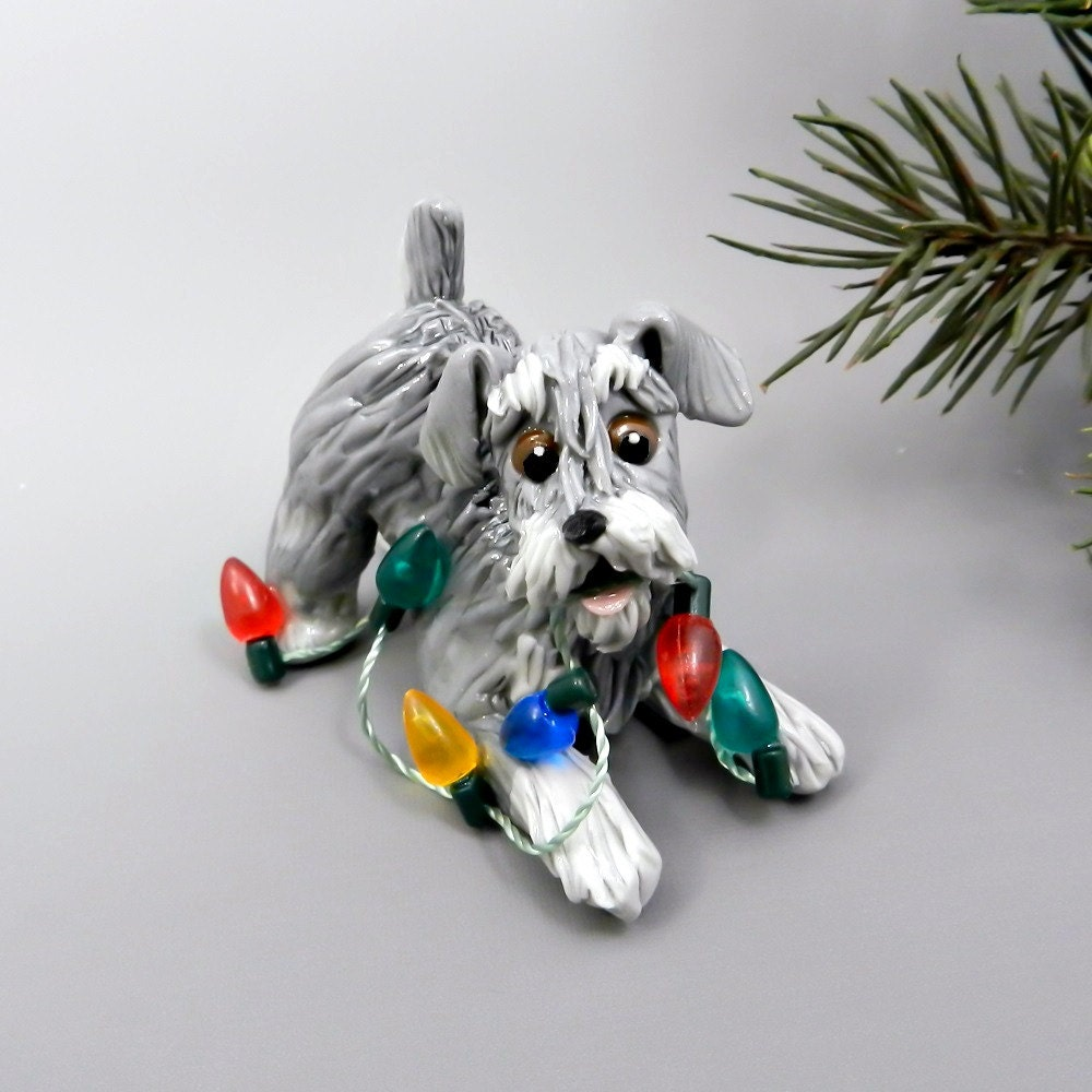 Schnauzer Christmas Ornament Figurine Salt by TheMagicSleigh