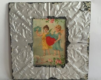 Tin Ceiling Picture Frame Silver RECLAIMED Shabby 5x7 04-16