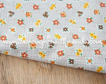 Daisies and Dots- Vintage Fabric Mod Juvenile Floral Novelty