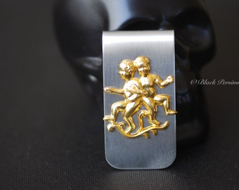 Gemini Money Clip - Vintage Polished Brass The Twins Stamping Zodiacs Astrology Signs - STAINLESS STEEL Clip - Insurance Included