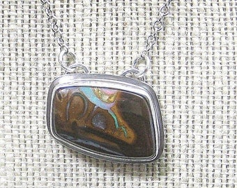Koroit Opal Necklace Pendant set in Sterling Silver