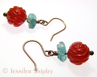 Carnelian & Blue Apatite Crystal Dangle Earrings: Healing Orange Agate Gemstones Wire-Wrapped, Nickel Free Hypoallergenic Copper or Silver