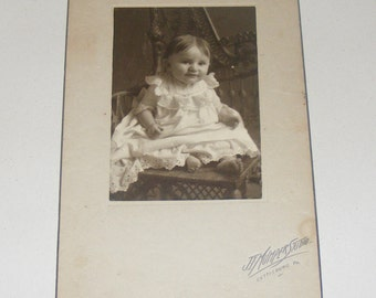 Antique Photograph Adorable Barefoot Baby sitting on wicker Chair Evaline Gallagher Gettysburg PA