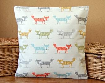 16 x 16 inch orange blue grey green mustard fox lumbar cushion cover, decorative pillow cover