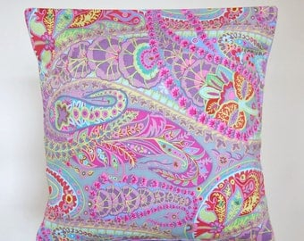 16 inch paisley cushion cover, lilac, mint green, pink, teal blue flowers floral decorative pillow cover 40 cm