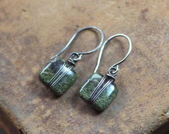 On Sale Moss Earrings Dragon Blood Jasper Silver Wire Wrapped Green Gemstone Earrings Sterling Silver Green Earrings Rustic Jewelry
