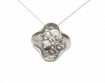 Victorian Pendant Brooch, Antique Foster & Bailey Fine Sterling Silver Jewelry, Art Nouveau Garlanded Lady Pendant Brooch