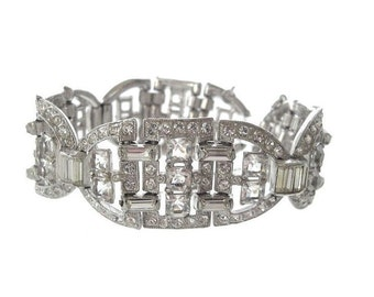 Art Deco Rhinestone Vintage Bracelet, Statement Bridal Bracelet, Antique 1920s Art Deco Cuff, Wedding Jewelry, Bridal Jewellery
