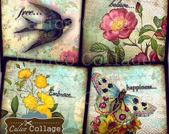 Vintage Ephemera, Collage Sheet, 4x4 Inch Coaster Images, Printable Images for Coasters, Decoupage, Scrapbooking, Card Making, CalicoCollage