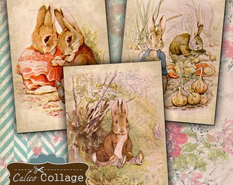 Story Book Bunnies 2.5x3.5 Tags Digital Collage Sheet ATC Size Rabbit Images Jewlery Holder Decoupage Paper Printable Easter Collage Sheet