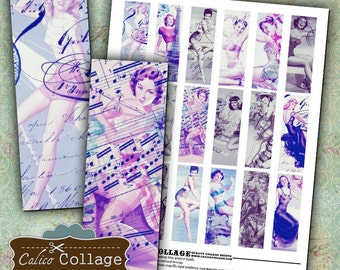 Sassy PinUps Digital Collage Sheet 1x3 Microslide Images for Pendants, Magnets, Bezel Serttings, Decoupage Paper, Altered Art, Mixed Media