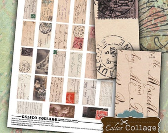 Vintage PostCards Digital Collage Sheet - 1x2 Collage Sheet for Decoupage,  Dominoes, Wood Tiles, Resin Pendants, Soldered Jewelry