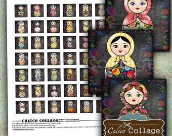 Nesting Doll Collage Sheet 1x1 inch Inchies - Printable Download for Pendants - Babushka Images - Matryoshka Clip Art - Calico Collage