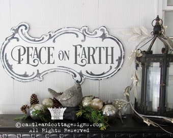 Peace On Earth Vintage Christmas Sign Hand Painted Ornate Cottage Sign Chippy Distressed Lettering Free Shipping Castle And Cottage Signs