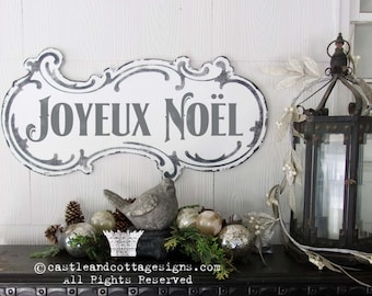 Joyeux Noël Vintage Christmas Sign Hand Painted Ornate Cottage Sign Chippy Distressed Lettering Free Shipping Castle And Cottage Signs