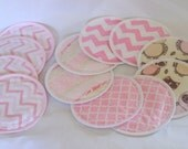 Reusable Nursing  Pads, Pink, Chevron, PUL, flannel, Combo,  4 pairs regular, 2 pairs Overnight/heavy flow