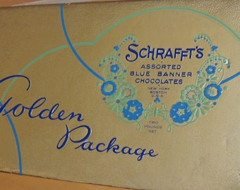 Vintage Schrafft's Candy box beautiful Metalic Gold foil for your VALENTINE