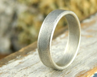 Plain wedding band *Weathered Oxidized finish* 5 mm sterling silver, simple wedding band, 1.5 mm thick.