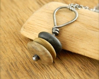 Cairn necklace, beach stone necklace, 34 inches long, sterling silver cairn pendant, Lake Superior beach stone necklace, pebble necklace.