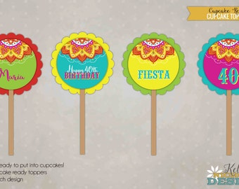 Mexican Fiesta Birthday Cupcake Toppers, Fiesta Mexicana, Birthday Party Decorations #B115