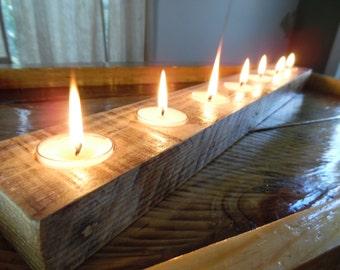 Centerpiece Candle Holder Long Reclaimed Wood Candleholder Rustic Modern Decor