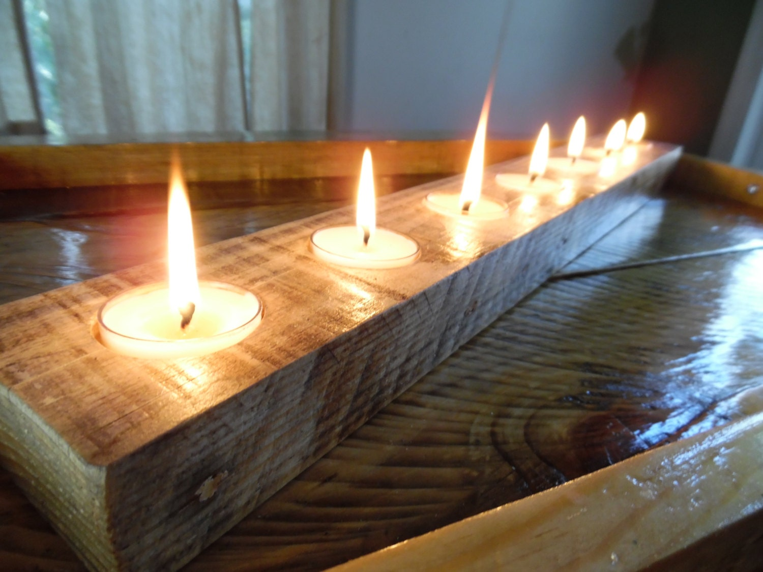 Centerpiece candle holder long reclaimed wood candleholder