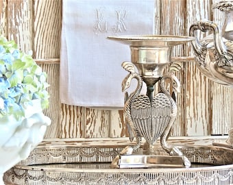 Vintage Shabby Chic Lovely Vintage Silver Plate Pedestal