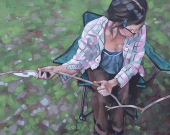 "Realism Oil Painting Camping Scene, Small Original Contemporary Art, Figurative Portrait in Oils - ""Girl with a Knife and a Stick"""