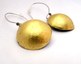 Gold Disk Earrings, Modern Gold Dangles