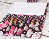 Crayon Wallet - Glitter Flower and Polka Dot - Includes Crayloa Crayons and Paper - Crayon Roll - Crayon Organizer