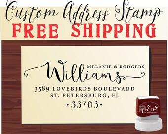 Calligraphy Handwriting Script Custom Return Address Stamp - Personalized stamp Wedding Stationery Stamper - Style 1162K