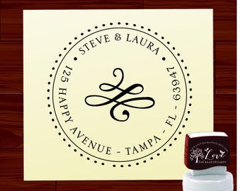 Return Address Stamp - Custom SELF INKING stamp  - style1163A - Personalized wedding  gift