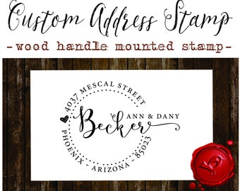 RETURN ADDRESS STAMP Custom calligraphy personalized  address wood handle mounted rubber stamp - style 1162D