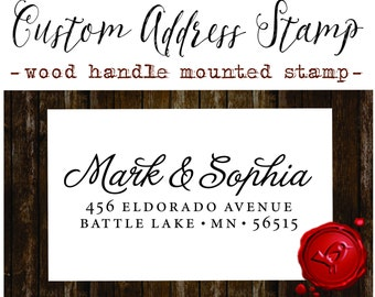RETURN ADDRESS STAMP Custom calligraphy personalized  address wood handle mounted rubber stamp - style 1172