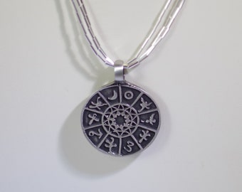 Triple Strand Pewter Zodiac Necklace - Adjustable from 30 - 36 Inches