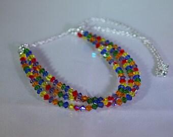 Swarovski Crystal Jewelry - Triple Strand Necklace - Silver Filled Chain