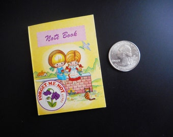 Vintage Tiny Notebook 1980s Forget Me Not Kawaii Cute Miniature Kids Lined Paper 2 X 3 Paper Stationery Ruled Pocket Mini Journal