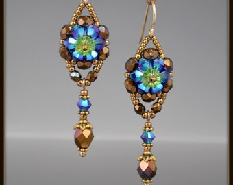 Beaded, Beadwoven, Beadwork, Crystal Flower Earrings